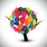 Graphic of idea tree with colorful bulbs as soluti. Ons. The illustration can represent concepts like collective human knowledge, intellectual property, group of Royalty Free Stock Photos