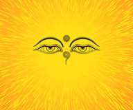 Graphic illustration of Buddha`s eyes. Black eyes. Orange background Royalty Free Illustration