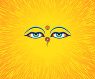 Graphic illustration of Buddha`s eyes. Blue eyes. Orange background Stock Illustration