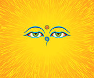 Graphic illustration of Buddha`s eyes. Green eyes. Orange background Vector Illustration