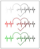 Graphic illustration of cardiogram or cardiograph. Electrocardiogram in black and white, red and green. Heart rate. EKG or ECG tes Royalty Free Stock Images