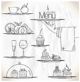 Graphic illustration with catering symbols. Royalty Free Stock Photos