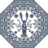 Graphic illustration with ceramic tiles 36. Texture with lobster crab, omar. Seafood background. Ceramic tile with Spanish, Portuguese Azulejo or Russian Gzhel Royalty Free Stock Photo