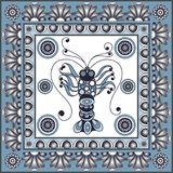 Graphic illustration with ceramic tiles 31. Texture with lobster crab, omar. Seafood background. Ceramic tile with Spanish, Portuguese Azulejo or Russian Gzhel Royalty Free Stock Photography
