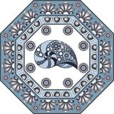 Graphic illustration with ceramic tiles 38. Texture with seashell shell. Seafood background. Ceramic tile with Spanish, Portuguese Azulejo or Russian Gzhel Stock Image