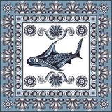 Graphic illustration with ceramic tiles 19. Texture with shark. Sailor background. Ceramic tile with Spanish, Portuguese Azulejo or Russian Gzhel pattern. Vector Royalty Free Stock Image