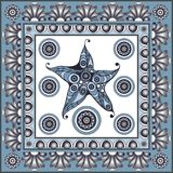 Graphic illustration with ceramic tiles 27. Texture with starfish sea star. Ceramic tile with Spanish, Portuguese Azulejo or Russian Gzhel pattern. Vector Stock Photography