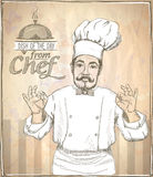 Graphic illustration of chef cook showing okay. Graphic hand drawing chef cook showing okay, vintage style Stock Photo