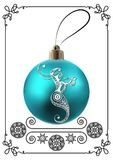 Graphic illustration with Christmas decoration 34. Decorative zodiac sign Ophiuchus. Horoscope and astrology astronomy-symbol. Christmas ball. New Year`s design Stock Images