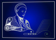 Graphic illustration with a computer user 14 Stock Images