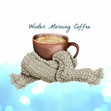 Graphic illustration Of a cup Of coffee with a warm wool scarf Royalty Free Stock Image