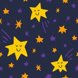 Vector seamless pattern with stars and comet on dark sky background. Graphic illustration in cute cartoon style for print, decor, fabric or textile and prints Royalty Free Stock Images
