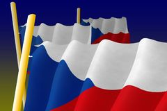 Czech flags on the flagpoles Stock Images