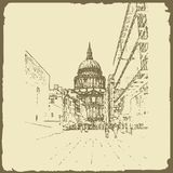 Graphic illustration with decorative architecture 43. Sketch of London. Vector illustration Royalty Free Stock Photo