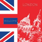 Graphic illustration with decorative architecture 46. Sketch of London. Vector illustration Stock Photos