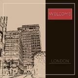 Graphic illustration with decorative architecture 69. Sketch of London. Vector illustration Stock Images
