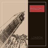 Graphic illustration with decorative architecture 74. Sketch of London. Vector illustration Royalty Free Stock Images