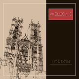 Graphic illustration with decorative architecture 75. Sketch of London. Vector illustration Stock Photos