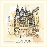 Graphic illustration with decorative architecture 84. Sketch of London. Vector illustration Royalty Free Illustration