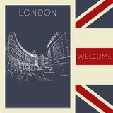 Graphic illustration with decorative architecture 92. Sketch of London. Vector illustration Stock Images