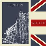 Graphic illustration with decorative architecture 101. Sketch of London. Vector illustration Stock Images