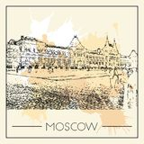 Graphic illustration with decorative architecture 34. Sketch of Moscow. Vector illustration Royalty Free Stock Image
