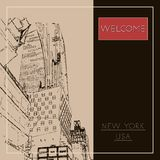 Graphic illustration with decorative architecture 73. Sketch of New York city. Vector illustration stock illustration