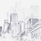 Graphic illustration with decorative architecture 93. Sketch of New York city. Vector illustration stock illustration