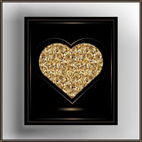 Graphic illustration with decorative leaflet 11. Valentine heart in frame. Vector illustration Stock Image