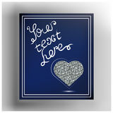 Graphic illustration with decorative leaflet 46. Valentine heart in frame. Vector illustration Royalty Free Stock Photos
