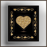 Graphic illustration with decorative leaflet 31. Valentine heart in frame. Vector illustration Royalty Free Stock Image