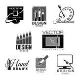 Graphic illustration design studio vector icons Stock Photos