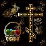 Graphic illustration with Easter eggs 15. Graphic abstract decorative symbols of Easter holiday-set. Vector illustration Royalty Free Stock Photography