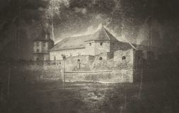 Graphic illustration with Fagaras Fortress stock photos