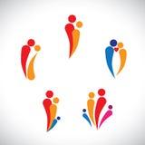 Graphic- family concept parents & children, couple together vector illustration