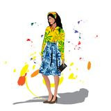 Graphic illustration of fashion woman Stock Images