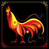 Graphic illustration with a fiery cock 2. Graphic illustration of fire cock, symbol of 2017. Suitable for invitation, flyer, sticker, poster, banner, card,label Royalty Free Stock Photo