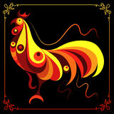 Graphic illustration with a fiery cock 4. Graphic illustration of fire cock, symbol of 2017. Suitable for invitation, flyer, sticker, poster, banner, card,label Royalty Free Stock Images