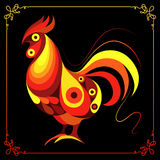 Graphic illustration with a fiery cock 9. Graphic illustration of fire cock, symbol of 2017. Suitable for invitation, flyer, sticker, poster, banner, card,label Royalty Free Stock Photos