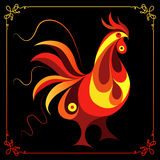 Graphic illustration with a fiery cock 6. Graphic illustration of fire cock, symbol of 2017. Suitable for invitation, flyer, sticker, poster, banner, card,label Stock Photography