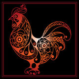 Graphic illustration with a fiery cock 3. Graphic illustration of fire cock, symbol of 2017. Suitable for invitation, flyer, sticker, poster, banner, card,label Stock Photography