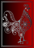 Graphic illustration with a fiery cock 14. Graphic illustration of fire cock, symbol of 2017. Suitable for invitation, flyer, sticker, poster, banner, card,label Royalty Free Stock Images