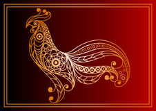 Graphic illustration with a fiery cock 28. Graphic illustration of fire cock, symbol of 2017. Suitable for invitation, flyer, sticker, poster, banner, card,label Royalty Free Stock Photo