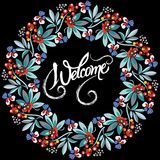 Decorative abstract ornament with invitation 36. Graphic illustration with floral frame. Vector illustration Stock Images