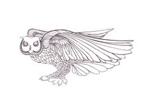 Graphic illustration of flying owl. Black and white style. Royalty Free Stock Images