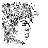 Graphic illustration of girl portrait with a wreath on her head. Illustration of girl portrait with a wreath on her head Royalty Free Stock Images