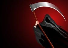 Graphic illustration of a grim reaper. On dark background stock illustration