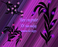 A graphic illustration of an inspirational saying with black leaves and bright purple background. A graphic illustration of words saying `There`s no greater joy Stock Photos