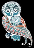 Graphic illustration with lacy owl 1 Royalty Free Stock Photography