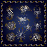 Graphic illustration with the marine delicacy  set 3. Graphic abstract sea creatures in line art style (set, kit). Vector illustration Royalty Free Stock Images